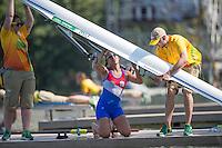 Rio de Janeiro. BRAZIL.   PAR W1X, Gabriela MOSQUEIRA, checks her boat before the heat. 2016 Olympic Rowing Regatta. Lagoa Stadium,<br /> Copacabana,  &ldquo;Olympic Summer Games&rdquo;<br /> Rodrigo de Freitas Lagoon, Lagoa. Local Time 10:26:55   Saturday  06/08/2016 <br /> <br /> [Mandatory Credit; Peter SPURRIER/Intersport Images]