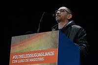 Roma, 1 Dicembre 2018<br /> Claudio Sanita del Movimento No Tav.<br /> Il Sindaco di Napoli lancia a Roma nel Teatro Italia &quot;Oltre le disuguaglianze&quot; , una nuova coalizione dei Popoli