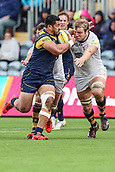 10th September 2017, Sixways Stadium, Worcester, England; Aviva Premiership Rugby, Worcester Warriors versus Wasps; Alafoti Faosailiva of Worcester Warriors toys to break through the tackle of Joe Launchbury of Wasps