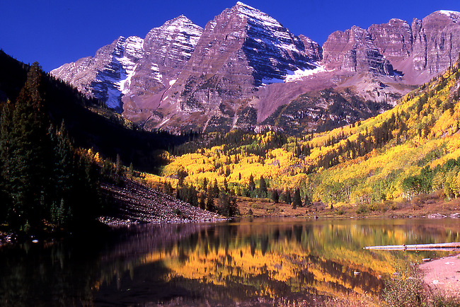 Maroon Bells with fall Aspen trees, Colorado