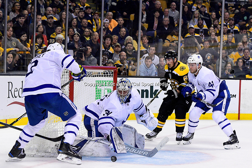 April 21, 2018: Toronto Maple Leafs goaltender Frederik Andersen (31) makes a save during game five of the first round of the National Hockey League's Eastern Conference Stanley Cup playoffs between the Toronto Maple Leafs and the Boston Bruins held at TD Garden, in Boston, Mass. Toronto defeats Boston 4-3, Boston leads Toronto 3 games to 2 in the best of 7 series.