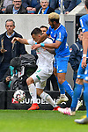 11.05.2019, PreZero Dual Arena, Sinsheim, GER, 1. FBL, TSG 1899 Hoffenheim vs. SV Werder Bremen, <br /> <br /> DFL REGULATIONS PROHIBIT ANY USE OF PHOTOGRAPHS AS IMAGE SEQUENCES AND/OR QUASI-VIDEO.<br /> <br /> im Bild: Rangelei zwischen Maximilian Eggestein (#35, SV Werder Bremen) und Joelinton (TSG Hoffenheim #34)<br /> <br /> Foto &copy; nordphoto / Fabisch