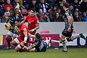 24th March 2018, AJ Bell Stadium, Salford, England; Aviva Premiership rugby, Sale Sharks versus Worcester Warriors; Ben Te'o of Worcester Warriors is tackled by Sam James of Sale Sharks