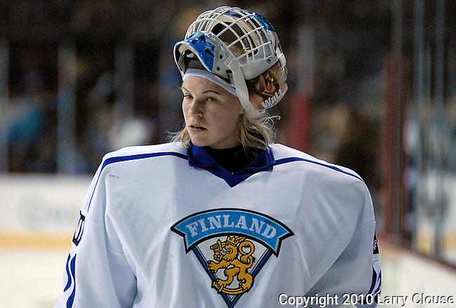 February 4, 2010:  Finland goal keeper, Anna Vanhatalo (30), prior to the Quest Tour Pre Olympic Exhibition match between Finland and Team USA women's ice hockey at the World Arena, Colorado Springs, Colorado.  Team USA defeats Finland 5-1.