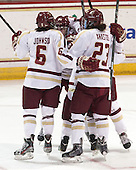 Kaliya Johnson (BC - 6), Meagan Mangene (BC - 24), Andie Anastos (BC - 23) - The Boston College Eagles defeated the Northeastern University Huskies 3-0 on Tuesday, February 11, 2014, to win the 2014 Beanpot championship at Kelley Rink in Conte Forum in Chestnut Hill, Massachusetts.
