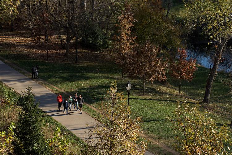 A group of students walks through Emeriti Park on November 12, 2016.