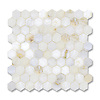 3cm Hex shown in polished Cloud Nine is part of New Ravenna's Studio Line of ready to ship mosaics.