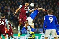 8th January 2020; King Power Stadium, Leicester, Midlands, England; English Football League Cup Football, Carabao Cup, Leicester City versus Aston Villa; Tyrone Mings of Aston Villa wins a header from Caglar Soyuncu of Leicester City - Strictly Editorial Use Only. No use with unauthorized audio, video, data, fixture lists, club/league logos or 'live' services. Online in-match use limited to 120 images, no video emulation. No use in betting, games or single club/league/player publications