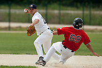 21 May 2009: Yann Dal Zotto of Savigny throws a ball to first base for a double play during the 2009 challenge de France, a tournament with the best French baseball teams - all eight elite league clubs - to determine a spot in the European Cup next year, at Montpellier, France.
