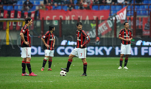 13.03.2011 AC Milan were held to a shock draw at home to basement boys Bari at the San Siro. Picture shows AC Milan kicking off after conceeding