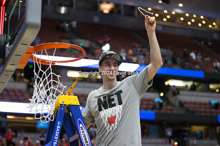 Wisconsin Badgers Josh Gasser cuts down a piece of the net after the Western Regional Final NCAA college basketball tournament game against the Arizona Wildcats Saturday, March 29, 2014 in Anaheim, California. The Badgers won 64-63 (OT). (Photo by David Stluka)