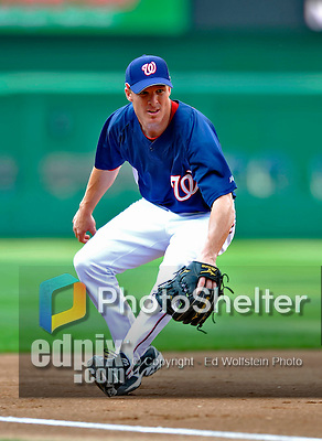 11 July 2008: Washington Nationals' infielder Pete Orr warms up in the infield prior to a game against the Houston Astros at Nationals Park in Washington, DC. The Nationals shut out the Astros 10-0 in the first game of their 3-game series...Mandatory Photo Credit: Ed Wolfstein Photo