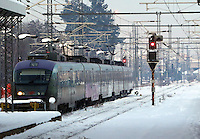 Pictured: A train in Larissa railway station, central Greece.<br />Re: Heavy snow affects most parts of Greece