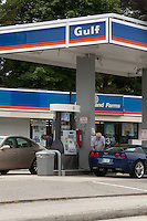 A Gulf gas station is pictured in Maine, Sunday June 16, 2013. Even if the brand name still exist, Gulf Oil was a major global oil company before it merged with Standard Oil of California (SOCAL) in 1985.