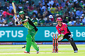 10th February 2019, Melbourne Cricket Ground, Melbourne, Australia; Australian Big Bash Cricket, Melbourne Stars versus Sydney Sixers;  Glenn Maxwell of the Melbourne Stars hits the ball down leg side