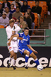 16 October 2004: Sasha Victorine (left) and Alex Zotinca (23) in the first half. The Kansas City Wizards defeated the Los Angeles Galaxy 1-0 at Arrowhead Stadium in Kansas City, MO in a regular season Major League Soccer game..