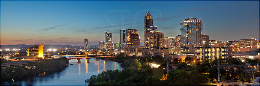 This Austin Skyline Panorama is a merge of three images. It shows downtown Austin and the Austin skyline, including the Frost Tower, Congress Bridge, Lady Bird Lake (Town Lake) and the Hyatt Hotel.