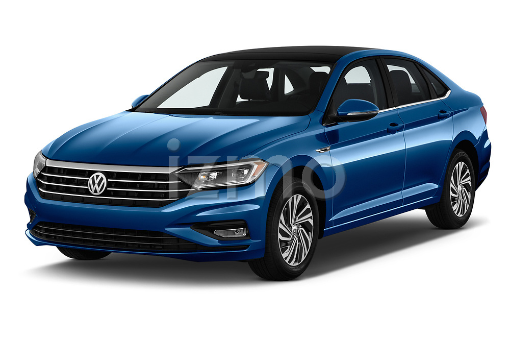 2019 Volkswagen Jetta SEL Premium 4 Door Sedan angular front stock photos of front three quarter view