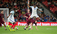 Kasey Palmer (Huddersfield Town (on loan from Chelsea) of England U21 tangles with Eduards Emsis (METTA/Latvijas Universitate Riga) of Latvia U21 during the UEFA EURO U-21 First qualifying round International match between England 21 and Latvia U21 at the Goldsands Stadium, Bournemouth, England on 5 September 2017. Photo by Andy Rowland.