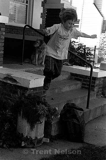 Nathaniel Nelson jumping from porch<br />