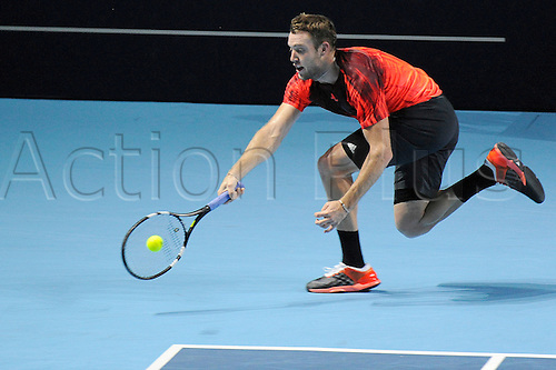 31.10.2015. Basel, Switzerland. Basel Swiss Indoor Tennis Championships. Day Seven Jack Sock in action in the match between Roger Federer of Switzerland and Jack Sock of the United States of America