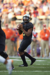 Wake Forest Demon Deacons quarterback Kendall Hinton (2) drops back to pass during second half action against the Clemson Tigers at BB&T Field on October 6, 2018 in Winston-Salem, North Carolina. the Tigers defeated the Demon Deacons 63-3. (Brian Westerholt/Sports On Film)
