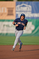 Connecticut Tigers first baseman Jordan Pearce (10) runs the bases during a game against the Auburn Doubledays on August 9, 2017 at Falcon Park in Auburn, New York.  Connecticut defeated Auburn 6-4.  (Mike Janes/Four Seam Images)
