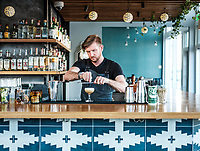 Executive Chef and Owner of Señor Bear Blake Edmunds at the restaurant in Denver, Colorado, December 18, 2017. Dishes photographed include Agua Chile, El Guise, Crispy Pig Tail, El Pollo Bronco, and a Parcha de mi vida cocktail made by bar manager Nate Maston.<br /> <br /> Photo by Matt Nager