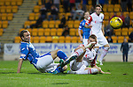 St Johnstone v Ross County...11.08.15...SPFL..McDiarmid Park, Perth.<br /> Chris Kane is blocked by Chris Robertson<br /> Picture by Graeme Hart.<br /> Copyright Perthshire Picture Agency<br /> Tel: 01738 623350  Mobile: 07990 594431