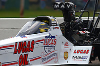 Aug 16, 2014; Brainerd, MN, USA; NHRA top fuel dragster driver Morgan Lucas during qualifying for the Lucas Oil Nationals at Brainerd International Raceway. Mandatory Credit: Mark J. Rebilas-