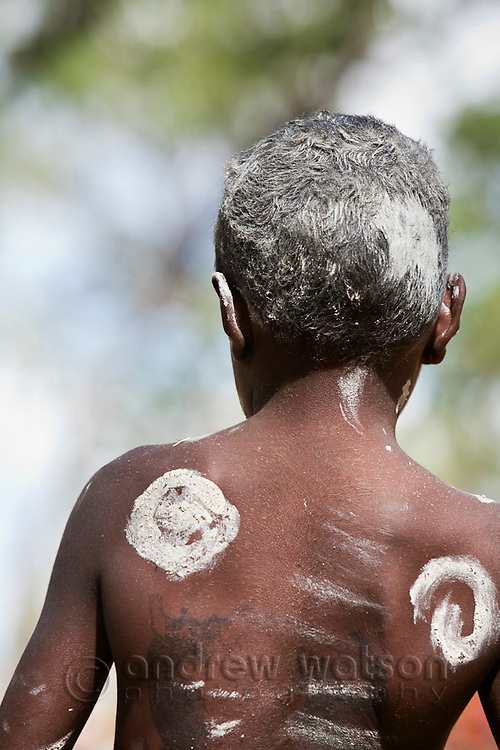 Young indigenous boy with tribal body paint.  Laura, Queensland, Australia