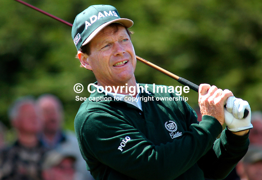 Tom Watson, professional golfer, USA, plays a tee shot. Ref: 200207230150. Photograph taken during ProAm prior to British Seniors Golf Championship at Royal County Down, N Ireland...Copyright Image from Victor Patterson, 54 Dorchester Park, Belfast, UK, BT9 6RJ..Tel: +44 28 9066 1296.Mob: +44 7802 353836.Voicemail +44 20 8816 7153.Skype: victorpattersonbelfast.Email: victorpatterson@mac.com.Email: victorpatterson@ireland.com (back-up)..IMPORTANT: If you wish to use this image or any other of my images please go to www.victorpatterson.com and click on the Terms & Conditions. Then contact me by email or phone with the reference number(s) of the image(s) concerned.