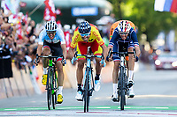 Picture by Alex Whitehead/SWpix.com - 30/09/2018 - Cycling - UCI 2018 Road World Championships - Innsbruck-Tirol, Austria - Elite Men's Road Race - Alejandro Valverde of Spain beats Romain Bardet of France and Michael Woods of Canada to win gold.