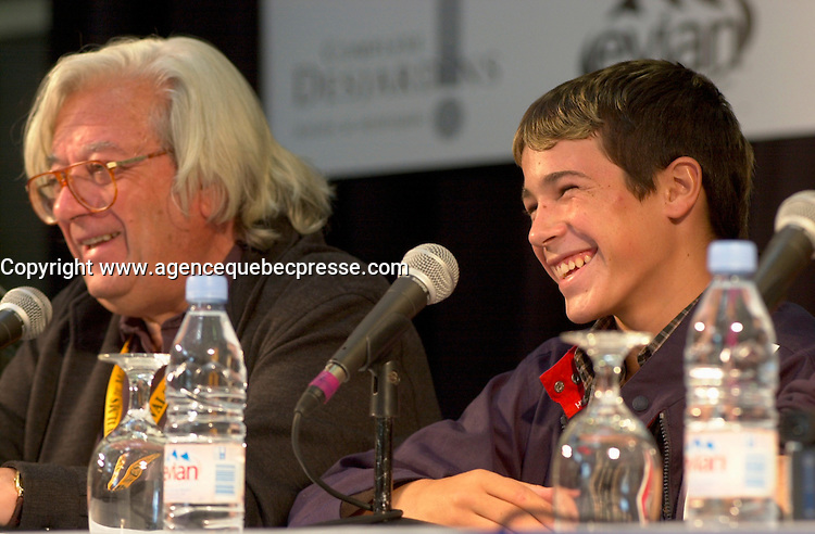August 31 2003  Montreal, Quebec, Canada<br /> <br /> Antonio Mercero (L),  winner Best Director at the<br />  2003 Montreal World Film Festival, for his movie<br />  PLANTA 4a ( 4th Floor -  Quatri&Euml;me &Egrave;tage))<br /> In a press conference, with the main actor of the movie ; Juan Jose  Balestra (R), August 31 2003.<br /> <br /> She is an ordinary schoolgirl choosen among 1500 others of an ethnic minority, for the main role in the first Chinese independant film on ethnic HANI tribe<br /> <br /> The Festival runs from August 27th to september 7th, 2003<br /> <br /> <br /> Mandatory Credit: Photo by Pierre Roussel- Images Distribution. (&copy;) Copyright 2003 by Pierre Roussel <br /> <br /> All Photos are on www.photoreflect.com, filed by date and events. For private and media sales