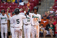 Cedar Rapids Kernels designated hitter Jorge Polanco #5 is congratulated by outfielder Byron Buxton #7 during a game against the Lansing Lugnuts at Veterans Memorial Stadium on April 29, 2013 in Cedar Rapids, Iowa. (Brace Hemmelgarn/Four Seam Images)