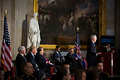 Senate Majority Leader Mitch McConnell, a Republican from Kentucky, speaks during a congressional Gold Medal ceremony for former Senator Bob Dole, in Washington D.C., U.S., on Wednesday, Jan. 17, 2018. From left: U.S. Vice President Mike Pence, U.S. President Donald Trump, former Senator Bob Dole, U.S. House Speaker Paul Ryan, a Republican from Wisconsin, Senate Minority Leader Chuck Schumer, a Democrat from New York, and House Minority Leader Nancy Pelosi, a Democrat from California. Photographer: Al Drago/Bloomberg<br /> Credit: Al Drago / Pool via CNP