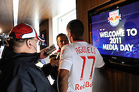 Juan Agudelo (17) is interviewed of the New York Red Bulls on Media Day at Red Bull Arena in Harrison, NJ, on March 15, 2011.