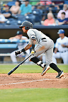 West Virginia Power shortstop Stephen Alemais (7) swings at a pitch during a game against the Asheville Tourists at McCormick Field on May 10, 2017 in Asheville, North Carolina. The Tourists defeated the Power 4-3. (Tony Farlow/Four Seam Images)