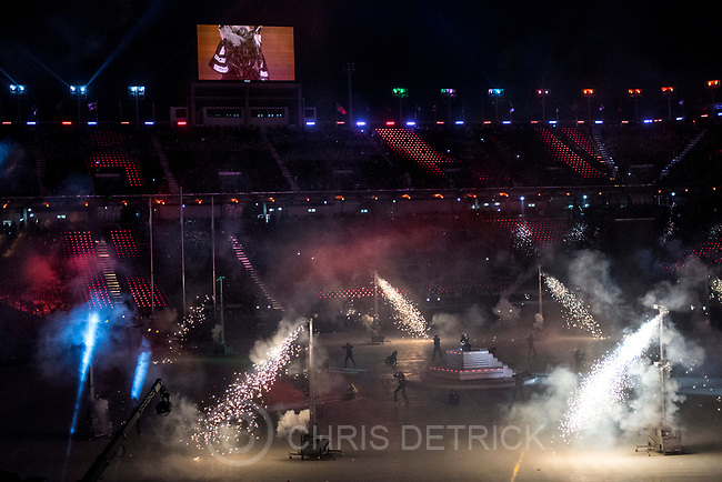 (Chris Detrick  |  The Salt Lake Tribune)  The PyeongChang 2018 Olympic Winter Games Closing Ceremony at Olympic Stadium Sunday, Feb. 25, 2018.