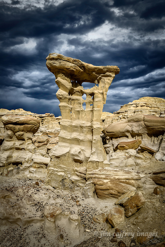 A bizarre formation in a small badlands area along the edge of Ah Shi Sle Pah Wash in New Mexico's San Juan Basin