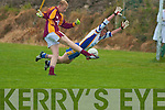 Daniel O'Dounaghue Duagh sends the ball to the back of the Keel net despite the close attention of Erin Cahela   Copyright Kerry's Eye 2008