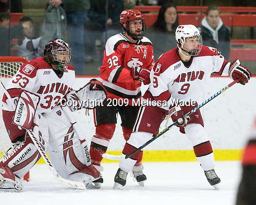 Kyle Richter (Harvard - 33), Aaron Bogosian (St. Lawrence - 32), Danny Biega (Harvard - 9) - The St. Lawrence University Saints defeated the Harvard University Crimson 3-2 on Friday, November 20, 2009, at the Bright Hockey Center in Cambridge, Massachusetts.