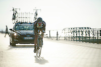Christophe Riblon (FRA) racing next to the beach<br /> <br /> 3 Days of West-Flanders 2014<br /> day 1: TT/prologue Middelkerke 7,0 km