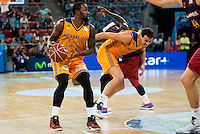Herbalife Gran Canaria's players Bo McCalebb and Darko Planinic and FC Barcelona Lassa player Tyrese Rice during the final of Supercopa of Liga Endesa Madrid. September 24, Spain. 2016. (ALTERPHOTOS/BorjaB.Hojas) NORTEPHOTO.COM