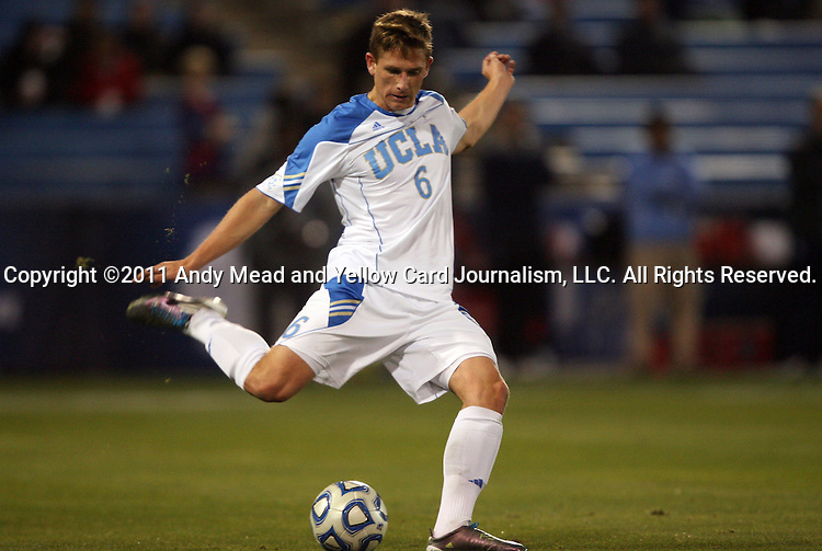 09 December 2011: UCLA's Matt Wiet. The University of California Los Angeles Bruins played the University of North Carolina Tar Heels to a 2-2 tie after overtime, with the Tar Heels advancing with a 3-1 win in the penalty kick shootout at Regions Park in Hoover, Alabama in an NCAA Division I Men's Soccer College Cup semifinal game.