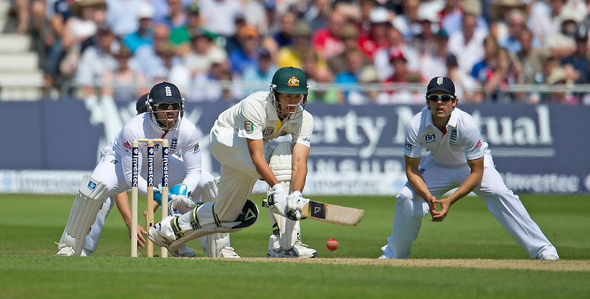 Australia's Ashton Agar sweeps England's Graeme Swann to the boundary for a four<br /> <br />  (Photo by Stephen White/CameraSport) <br /> <br /> International Cricket - First Investec Ashes Test Match - England v Australia - Day 2 - Thursday 11th July 2013 - Trent Bridge - Nottingham<br /> <br /> &copy; CameraSport - 43 Linden Ave. Countesthorpe. Leicester. England. LE8 5PG - Tel: +44 (0) 116 277 4147 - admin@camerasport.com - www.camerasport.com