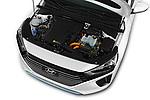 Car Stock 2017 Hyundai Ioniq-Hybrid Executive 5 Door Hatchback Engine  high angle detail view