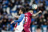 29th February 2020; Estadio Municipal de Butarque, Madrid, Spain; La Liga Football, Club Deportivo Leganes versus Deportivo Alaves; Ximo Navarro (Deportivo Alaves)  wins the header from Kevin Rodriguez (CD Leganes)