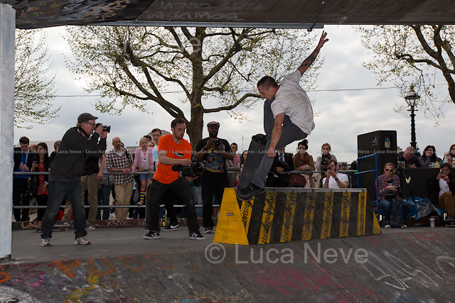 Chris Ault.<br /> <br /> London, 04-05-06/05/2103. The May bank holiday weekend at the Southbank Skate Park was three days of Skateboarding, Bmx, Music and Art.<br /> The notorious Southbank Skate Park, Britain's most famous landmark and hub in the international skateboarding community, is under threat by a plan to turn it in retail units. The project is part of the refurbishment of the entire Festival Wing being undertaken by The Southbank Centre.<br /> In 2001 it was reported that skateboarding and the sport's associated consumer goods market were contributing up to &pound;10m dollars (&pound;6m) to the UK economy. Southbank Skate Park, otherwise known as the Undercroft, is the beating heart of this economy, and the removal of it has sparked much controversy.<br /> Source: http://skateboarding.transworld.net/1000010574/news/sorting-out-the-uk/<br /> <br /> To sign the online petition to &quot;Save Southbank Skate Park&quot; please click here: http://chn.ge/WwLosq<br /> <br /> For more information please click here: http://www.savethesouthbank.com