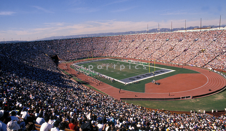 Overall of the Los Angeles Memorial Coliseum in Los Angeles, California home field on the Los Angeles Raiders during a game against the Denver Broncos on December 3, 1989. The Raiders beat the Broncos 16-13.David Durochik/SportPics
